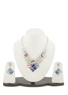 Redefine your style with this Vibrant necklace n earrings set crafted in silver finish studded with superior quality multicolored resin stones.