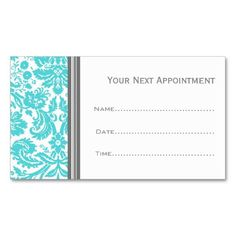 DENTIST APPOINTMENT CARD modern tooth logo in bright aqua blue ...