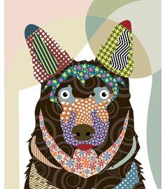 Pop Art Dog Poster, Alsatian Dog Art Print, Dog illustration, Dog Painting, Dog Graphic illustration - 8 X 10 via Etsy