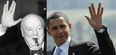 Winston Churchill (high digit ratio) and Obama (low digit ratio)