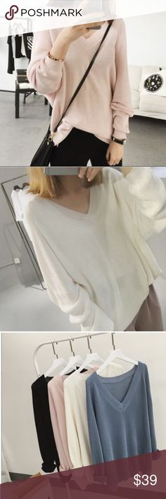 """Slouchy light v-neck sweater Soft light sweaterBoutique Super comfy and quality. One size, two colors: bluish pink and white. Material: ice rayon. Length: 25.2"""", sleeve: 28"""", bust: 45.7"""" Sweaters V-Necks"""
