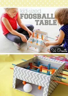 Kid-sized Foosball Table...so cute, creative and fun!  (Could easily use a bigger box to make it more challenging.)
