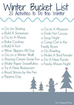 Winter has arrived & today, we are sharing some fun ideas for your family to do this winter.  Print off the Winter Bucket List below.  Then, check off the list as you count down towards some warmer spring weather! Click here to download the Winter Bucket List printable to print or right click on each individual image to open …