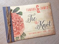 Tie The Knot Vintage Hibiscus Pocket Booklet Wedding Invitation... SAMPLE by envymarketing on Etsy