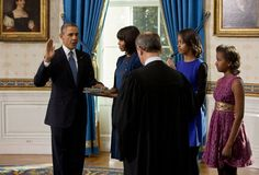 The official swearing in for 2nd term as President of the United States.    President Obama, Mrs. Obama, Malia, Sasha, and U.S. Chief Justice, John Roberts.