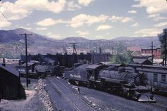 What a view of the Durango facilities! and are steamed up and ready for action in this June 1962 view. Colorado, Train Route, Railroad History, Railroad Photography, Old Trains, Train Pictures, Spur, Water Tower, Steam Engine