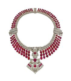 An Art Deco ruby and diamond necklace, circa Art Deco Necklace, Art Deco Jewelry, Modern Jewelry, Fine Jewelry, Red Jewelry, Luxury Jewelry, Antique Jewelry, Ruby And Diamond Necklace, Diamond Necklaces