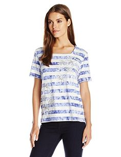 Alfred Dunner Womens Stripe Knit Top with Flowers Iris Small ** Learn more by visiting the affiliate link Amazon.com on image.