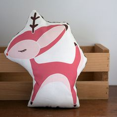 Reindeer Pillow in Pink by Gingiber on Etsy, $25.00
