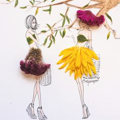 Mixed media fashion illustrator collaborating with luxury brands and selling fine art prints. Arte Fashion, Floral Fashion, Fashion Design, Floral Illustrations, Fashion Illustrations, Newspaper Art, Flower Quotes, Fantasy Artwork, Flower Dresses