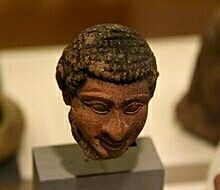"Terracotta head of Semite, marked ""Hebrew"" by Petrie. From Memphis, Foreign Quarter, Egypt. Graeco-Roman Period."