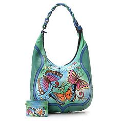 Anuschka Hand-Painted Leather Zip Top Hobo Handbag w/ Credit Card Case