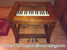 An end table made from old piano parts. Trash to Treasure Decorating: What to Do With an Old Piano - Upcycled Project.