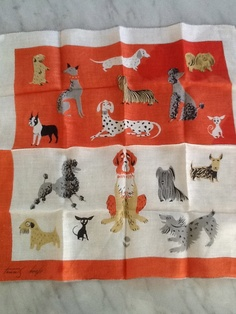 Vintage collectible TAMMIS KEEFE Handkerchief signed 1950s Dogs Red and White Hand Tooled