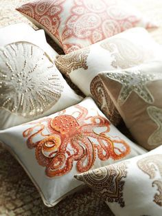 beach house coral and seashell pillow or pillow cover 18x18 sea foam and coral lakes. Black Bedroom Furniture Sets. Home Design Ideas