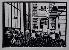 #linocut #print #linogravure #gravure #atelier #studio #retro #vintage #fifties #france #paris #art #french
