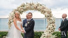 floral chuppah at Extravagant Wedding at The Breakers Palm Beach by Domino Arts Photography Breakers Palm Beach, The Breakers, Bride And Groom Pictures, Wedding Pictures, Domino Art, Chuppah, Bridesmaid Dresses, Wedding Dresses, Flower Wall