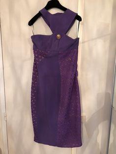 Robe H M collection Versace Violette en dentelle et doublure beige Taille  40 Coupe très près du 5fbb67fde4b