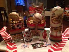 Baseball Centerpieces for FI Baseball fundraiser Baseball Crafts, Baseball Mom, Baseball Wreaths, Baseball Centerpiece, Graduation Centerpiece, Baseball Birthday Party, Grad Parties, Centerpieces, Centerpiece Ideas