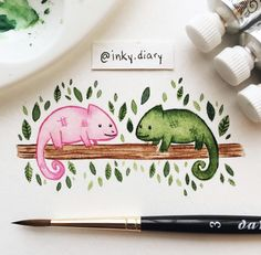 Watercolor Art Landscape, Watercolor Animals, Watercolor Paintings, Book Drawing, Painting & Drawing, Cute Animal Drawings, Cute Drawings, Posca Art, Hippie Wallpaper