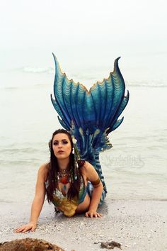 "Merbella Studios Silicone Performance Mermaid Tail Outfit ""Sea Dragon"" Design 