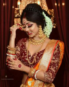 Bengali Saree, Bengali Bride, Bengali Wedding, Indian Sarees, Bengali Bridal Makeup, Indian Bridal, Most Beautiful Indian Actress, Beautiful Ladies, New Saree Blouse Designs