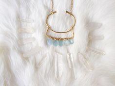 Hammered Brass Necklace Aquamarine by ShopSugarPineDesign on Etsy