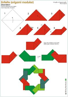 Origami 101, Origami Wreath, Origami Modular, Paper Crafts Origami, Origami Stars, Origami Tutorial, Origami Fashion, Handmade Christmas Decorations, Holiday Crafts