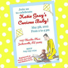Curious george invitation baby shower birthday custom by honeybops curious george monkey baby shower invitations personalized girlymommadesign childrens on artfire filmwisefo