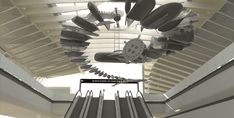"""Construction rendering showing the """"The Distance of the Sun"""" from below. The artwork by Glenn Kaino is being developed in tandem with the Airport Metro Connector's station environment. Otis College, Los Angeles Area, Museum Of Contemporary Art, Skylight, Public Art, Tag Art, Bauhaus, Architecture, Home"""