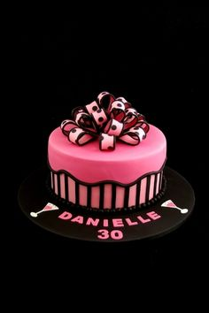 Pink and Black bow and stripes By Taste_Cake_Design on CakeCentral.com