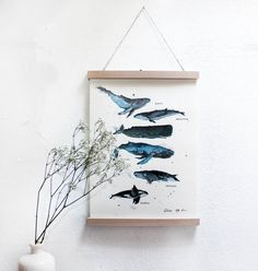 **Walarten**  Das Bild ist ein Druck eines Original Aquarellbildes von verschiedenen Walen.  Diese wurden von mir erst gestempelt, anschließend mit Aqurell ausgemalt und mit Fineliner...