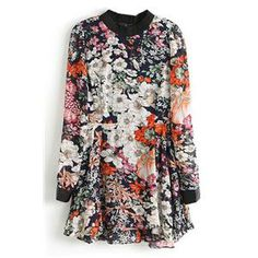 Vinyl Panel Zippered Buttoned Floral Print Dress | pariscoming