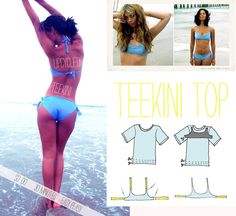Make a bikini out of a t-shirt. | 25 Awesome Swimsuit DIYs You Have To Try This Summer