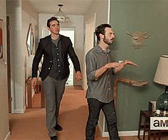 Lee Pace as Joe MacMillan and Scoot McNairy as Gordon Clark in  Halt and Catch Fire Set Tour Season 2 (2015) (gif)