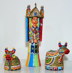 Ismael Pereira. Figuras do reisado, acrílica sobre cerâmica   Reproduçao fotográfica e-Sergipe