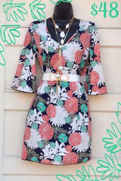 Zinnia Garden Dress! S-M-L. $48 Gorgeous beauty in shades of navy, poppy red, jade and white! Yesssssss Pleeeeease!