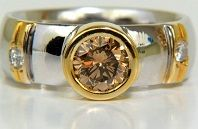 #Jewelry 1.05ct Natural Fancy Orange Brown Diamond Ring Best 14kt Solid