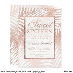 Faux rose gold glitter palm tree chic Sweet 16 Card