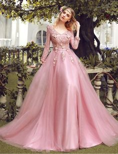 Sale Soft 2019 Prom Dresses, Lace Long Sleeve Pink Prom Dresses V Neck Tulle Appliqued Beaded Evening Ball Gowns Long Sleeve Evening Dresses, Prom Dresses Long With Sleeves, Evening Dresses For Weddings, Pink Prom Dresses, Prom Dresses With Sleeves, Ball Dresses, Evening Gowns, Ball Gowns, Dress Prom
