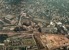 Another aerial shot of King's Cross and St Pancras. The British Library is yet to be built. Camden London, Old London, Old King, London History, Vintage London, Train Tracks, British Library, London England, Trains