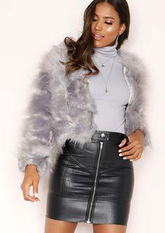 5abd1255 Missyempire - Aniyah Grey Cropped Shaggy Faux Fur Coat Grey Fur Coat,  Shaggy, Lilac
