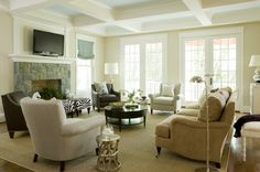 Bethesda contemporary family room--Benjamin Moore walls:Manchester tan; ceiling: ice blue
