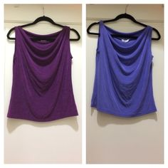 2 slinky cowl-neck tops Both from Fiore, size M. Awesome slinky fabric (90% acetate, 10% spandex). The cowl neck drapes and moves beautifully. One is a reddish purple (photo is accurate) and the other is a dark lavender (not as blue as photo). Worn a couple of times, no flaws, EUC. Made in the USA. Fiore Tops