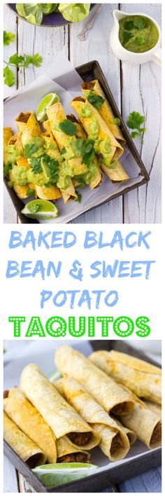 Baked Taquitos with Black Beans & Sweet Potato - She Likes Food