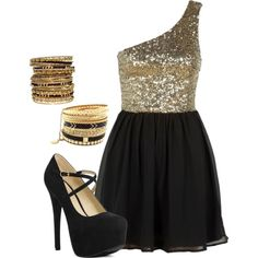 Gold sparkly dress. This would be so cute for my birthday outfit