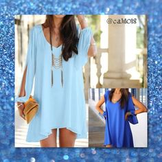 NWT Light Blue Chiffon Mini Dress w/Open Arm Brand new chiffon mini dress with open long sleeves  Material: Chiffon Color: White, Black, Navy Blue, Light Blue, Red, Pink, Green Style: Dress, Tunic, Top Sleeve: Long with opening  Sizes avail: Tag XL (Fits US Size Large Best), Tag XXL (Fits US Size XL Best) IF YOU WANT A COLOR THAT YOUR NOT SEEING IN MY CLOSET PLEASE FEEL FREE TO ASK BECAUSE I MAY HAVE THAT COLOR Boutique Dresses Mini
