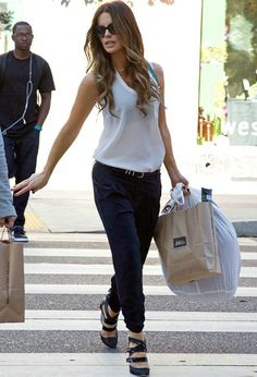 Kate Beckinsale wearing Casadei for Prabal Gurung Strappy Blade Wedge Pump Proenza Schouler PS11 bag in Verdena