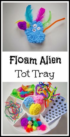 Floam Alien- This visual art activity is great because so many different materials can be used, and the child's imagination can run wild. Children could also use their aliens in dramatic play to talk to each other in their own language.