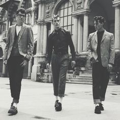 Teddy boys-- late 40's and 50's-- working class British adolescents who adopted styles in menswear that had a somewhat Edwardian flavor.